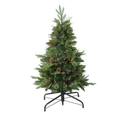 48 in. Pre-Lit Mixed Winter Pine Artificial Christmas Stake Tree with Clear Lights
