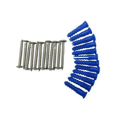 12 Steel Screws and 12 Plastic Wall Anchors for Mounting Stainless Steel Pegboard System