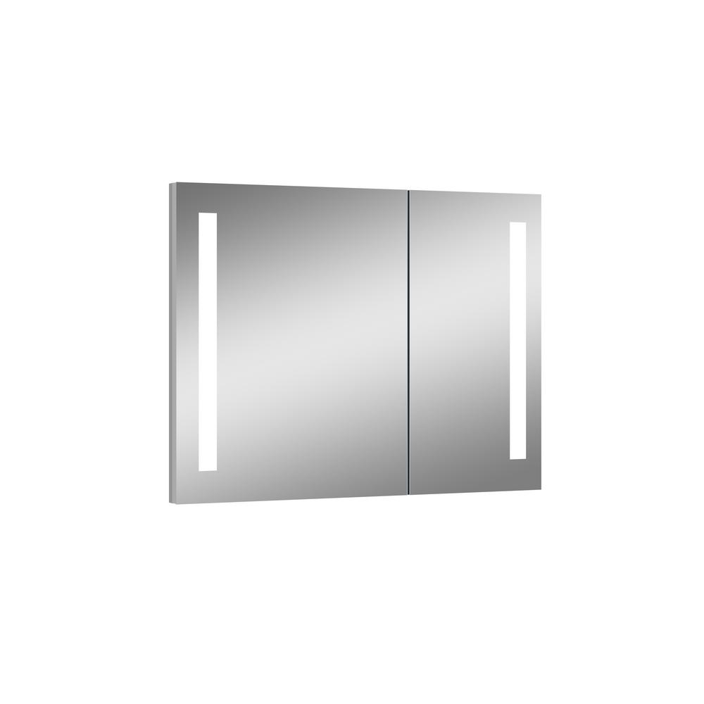 null royale 315 in x in lighted impressions frameless recessed led mirror medicine cabinet
