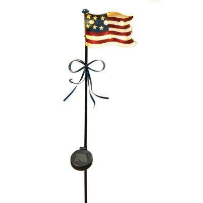 40.5 in. Solar Lighted Metal Patriotic Yard Stake