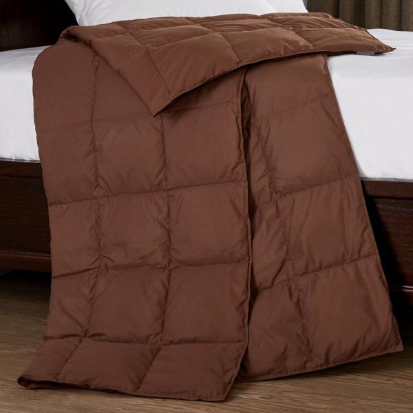 Packable Down 50 in. x 70 in. Chocolate Throw Blanket