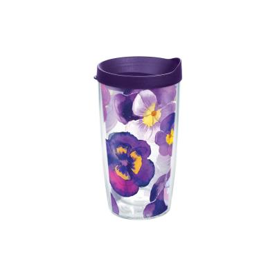 Watercolor Pansy 16 oz. Clear Tumbler with Lid