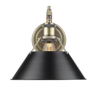 Orwell AB 1-Light Aged Brass Sconce with Black Shade