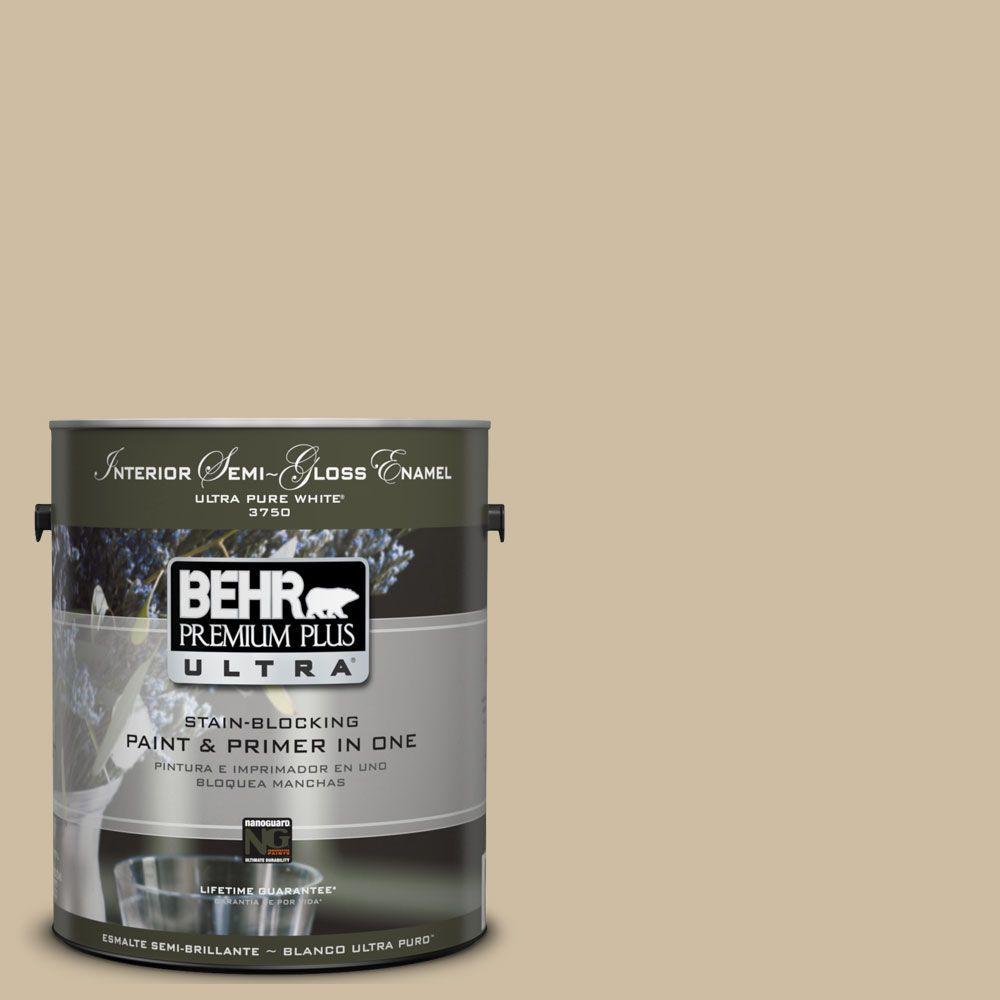 BEHR Premium Plus Ultra 1-gal. #UL170-6 Rye Bread Interior Semi-Gloss Enamel Paint