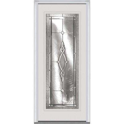36 in. x 80 in. Brentwood Right-Hand Full Lite Classic Primed Fiberglass Smooth Prehung Front Door