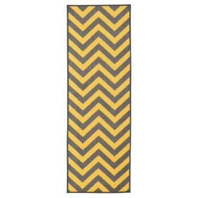 Anne collection chevron design yellow and grey 2 ft x 5 ft non