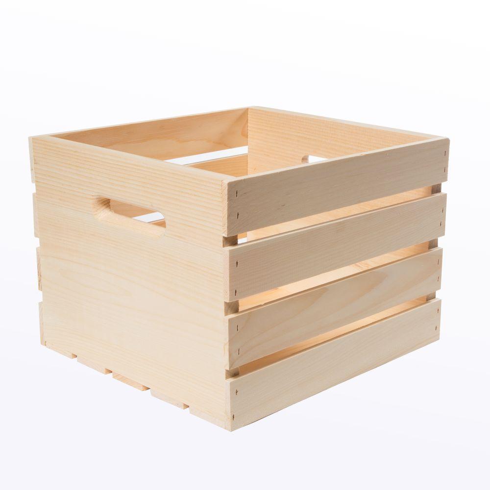 13.5 in. x 12.5 in. x 9.5 in. Medium Wood Crate