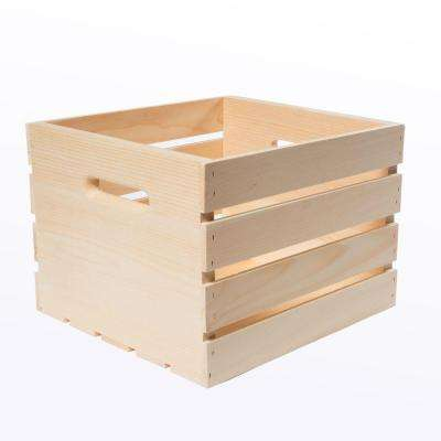 13.5 in. x 12.5 in. x 9.5 in. Medium Wood Crate (4-Pack)