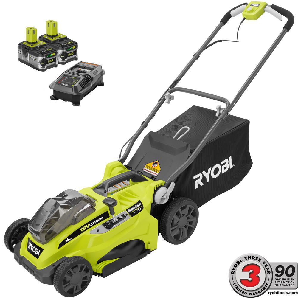 RYOBI 16 in. ONE+ 18-Volt Lithium-Ion Cordless Battery Walk Behind ... 5caaa6a745e