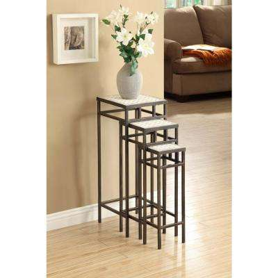 White Nesting End Table