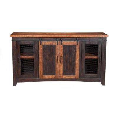 Antique Black and Age Distressed Pine Santa Fe Home Entertainment Center