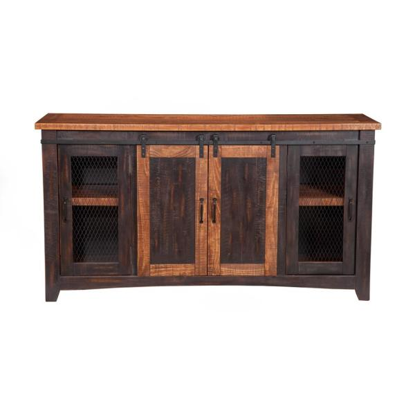Santa Fe Antique Black and Age Distressed Pine Metal TV Stand Fits TVs Up to 70 in. with Cable Management