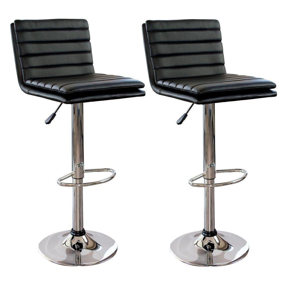 Fine Modern Style Adjustable Height Black Swivel Cushioned Bar Stool Set Of 2 Machost Co Dining Chair Design Ideas Machostcouk