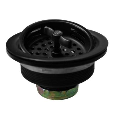 3-1/2 in. Wing Nut Style Large Kitchen Sink Basket Strainer in Matte Black