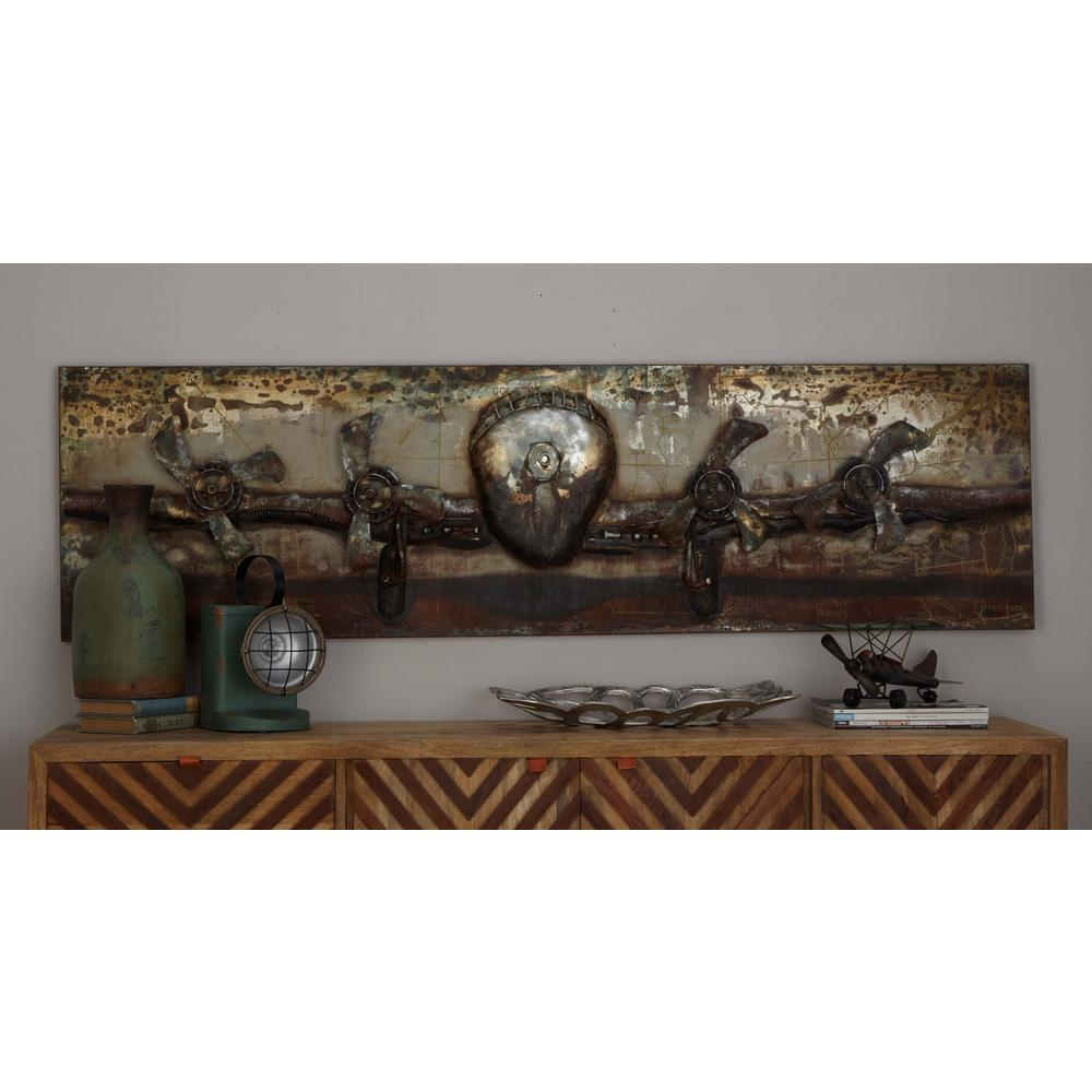 Litton Lane 20 In X 71 In Vintage 3d Iron Airplane Wall Art 38567