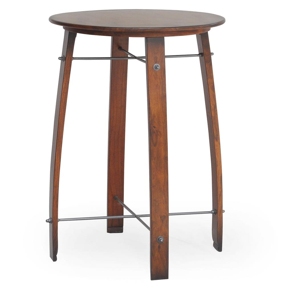 carolina forge woodford chestnut 26 in round barrel counter height pub bar table sf2636b nc. Black Bedroom Furniture Sets. Home Design Ideas