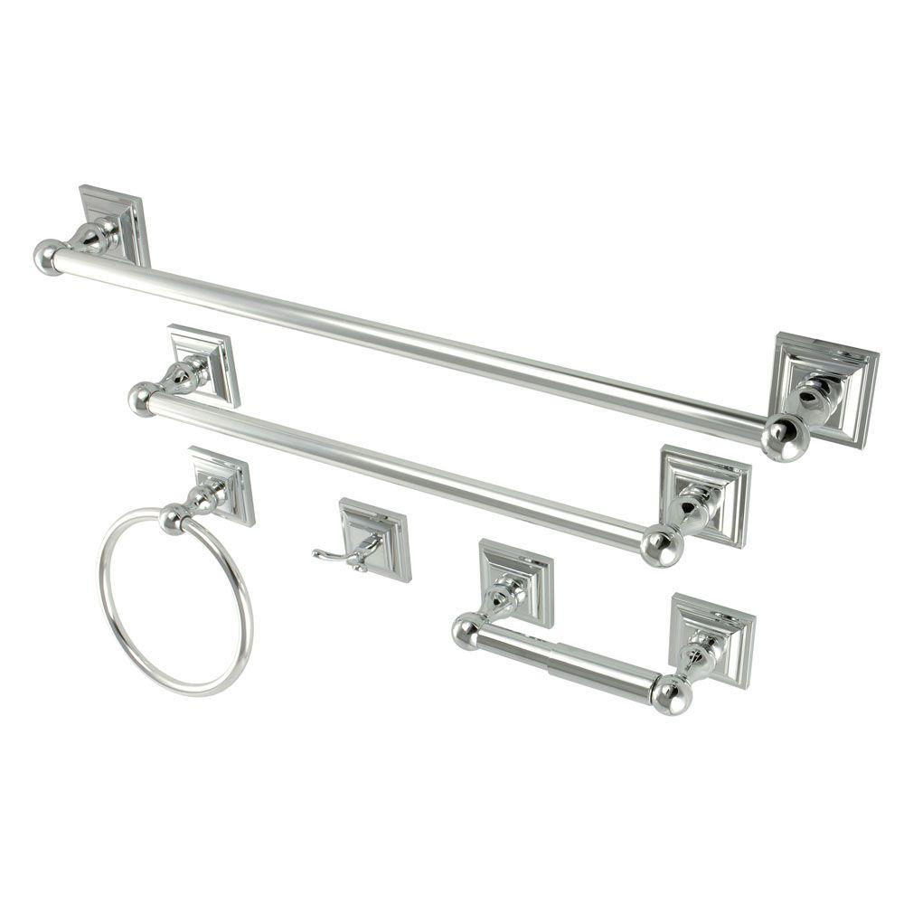 Kingston Brass 5 Piece Bathroom Accessory Set In Chrome Hbahk3212478c The Home Depot