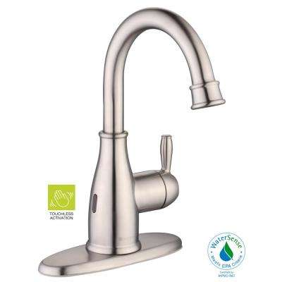 Mandouri Touchless Single Hole Single-Handle High-Arc Bathroom Faucet in Brushed Nickel