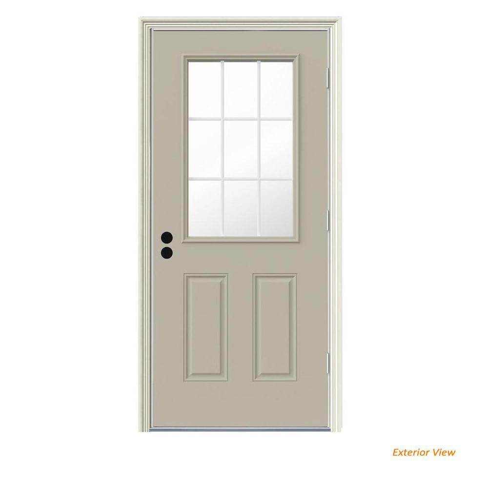 30 in. x 80 in. 9 Lite Desert Sand Painted Steel Prehung Left-Hand Outswing Front Door w/Brickmould