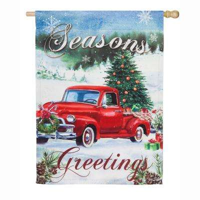 28 in. x 44 in. Christmas Farm Pickup House Suede Flag