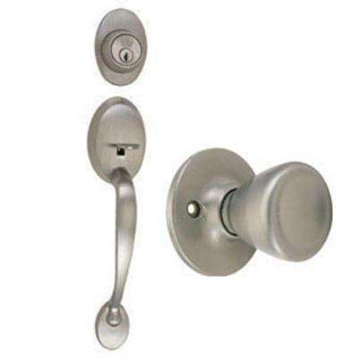 Coventry Satin Nickel Door Handleset with Tulip Knob Interior and Single Cylinder Deadbolt