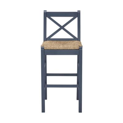 Dorsey Midnight Blue Wood Bar Stool with Back and Rush Seat (17.72 in. W x 44.49 in. H)