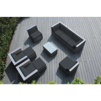 Gray 10-Piece Wicker Patio Seating Set with Spuncrylic Gray Cushions