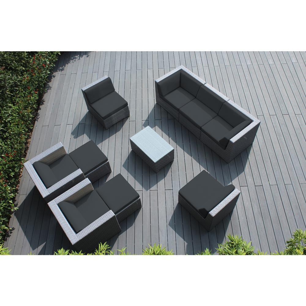 Gray 10-Piece Wicker Patio Seating Set with Spuncrylic Gray Cushions