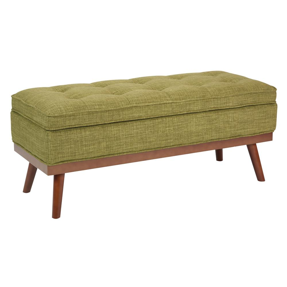 Green Fabric Katheryn Storage Bench