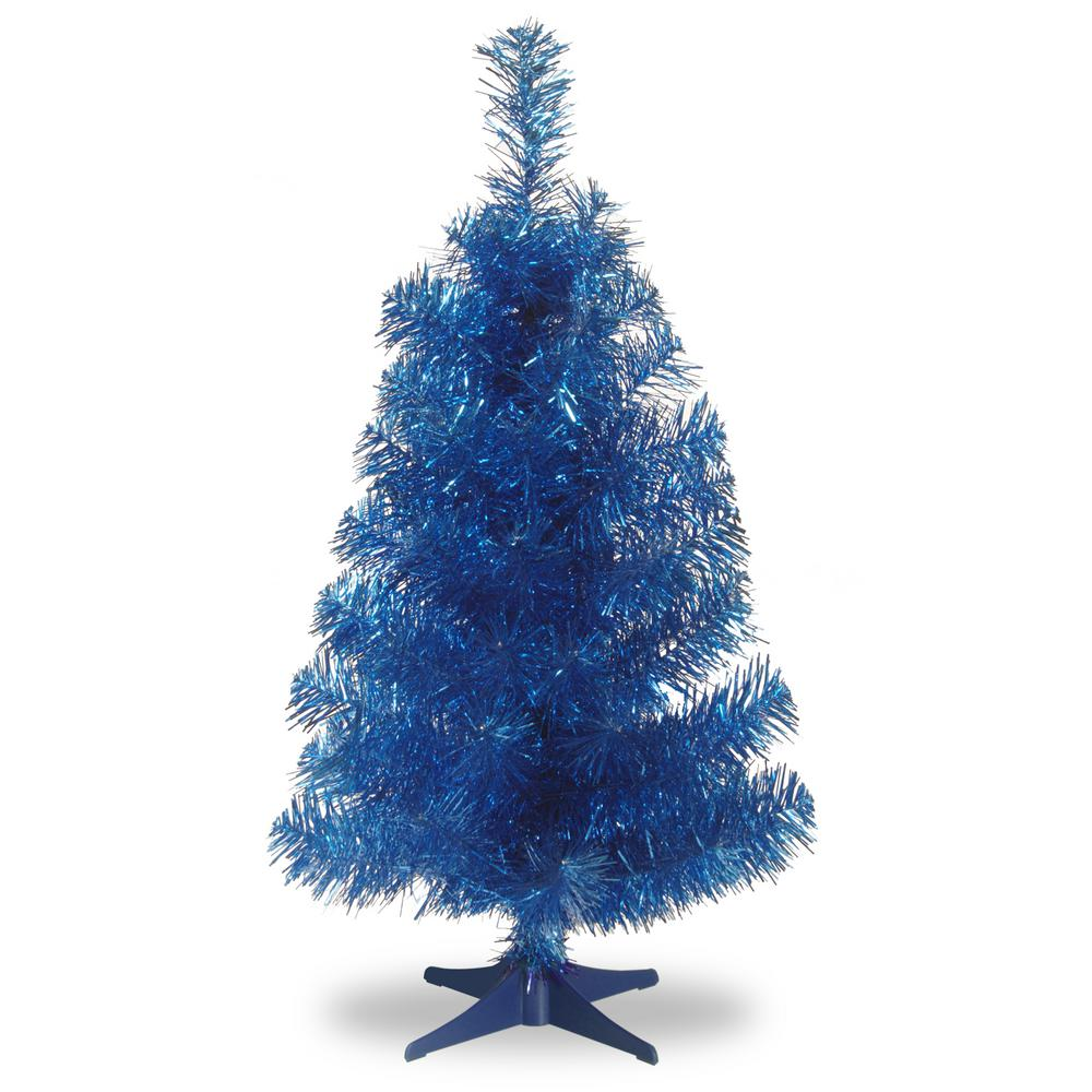 Blue Tinsel Artificial Christmas Tree