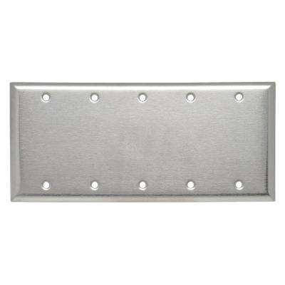 302 Series 5-Gang Blank Wall Plate, Stainless Steel