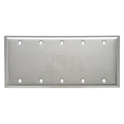 Pass & Seymour 302/304 S/S 5 Gang 5 Box Mounted Blank Wall Plate, Stainless Steel (1-Pack)