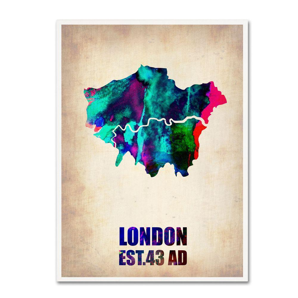 Trademark Fine Art 19 in. x 14 in. London Watercolor Map 2 Canvas Art