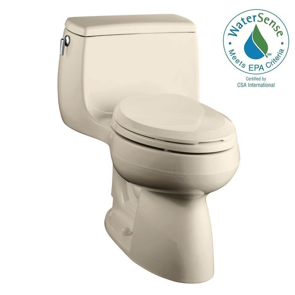 KOHLER Gabrielle Comfort Height 1-piece 1.28 GPF Single Flush Elongated Toilet with AquaPiston Flushing Technology in Almond