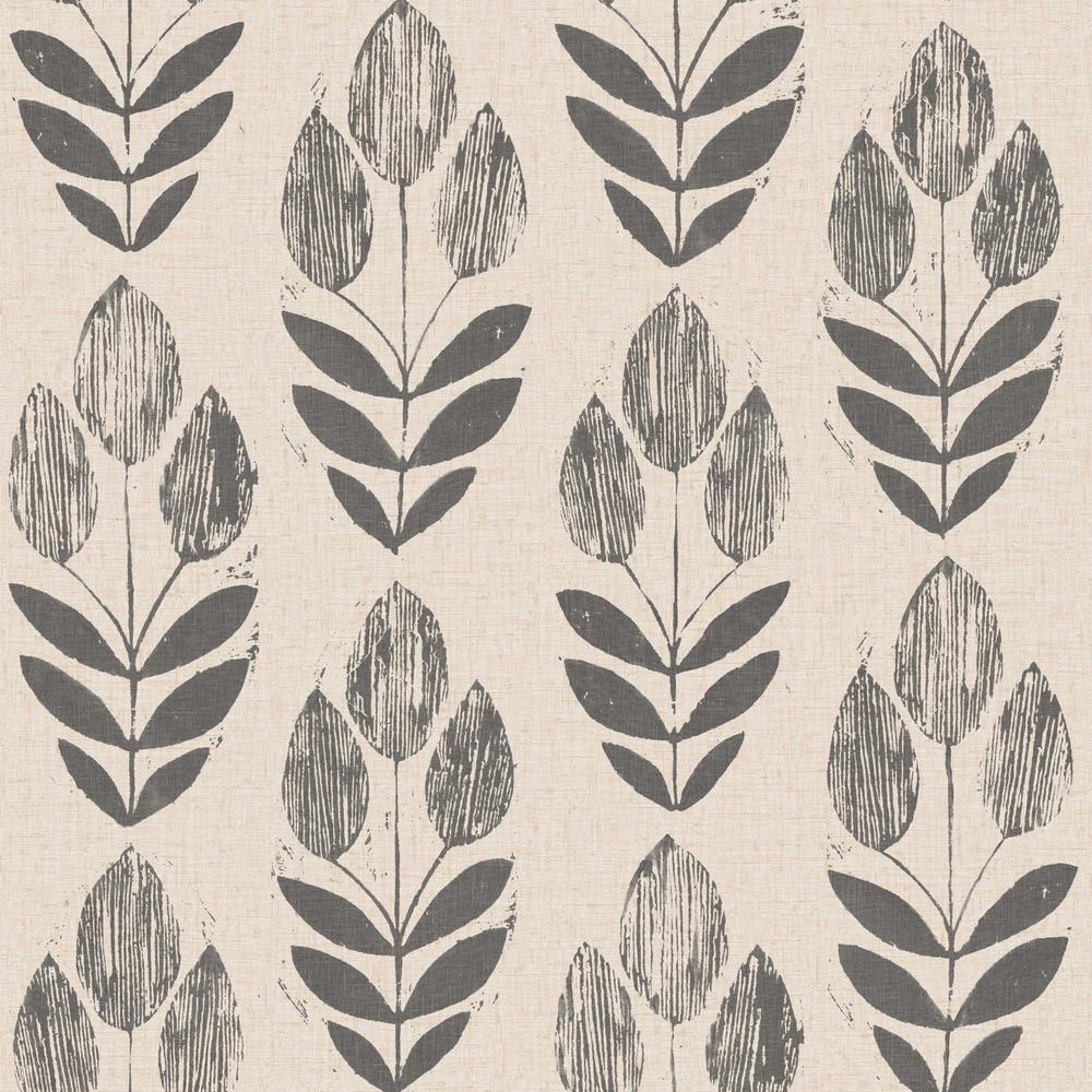 Folk Tulip Neutral Wallpaper Sample