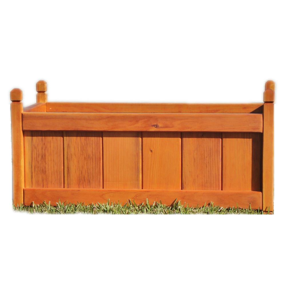 Garden 12 in  x 12 in  x 48 in  1905 Super Deck Finished Redwood Solid  Planter Box