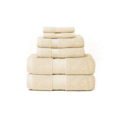 Hotel Zero Twist 6-Piece 100% Cotton Bath Towel Set in Buttercup