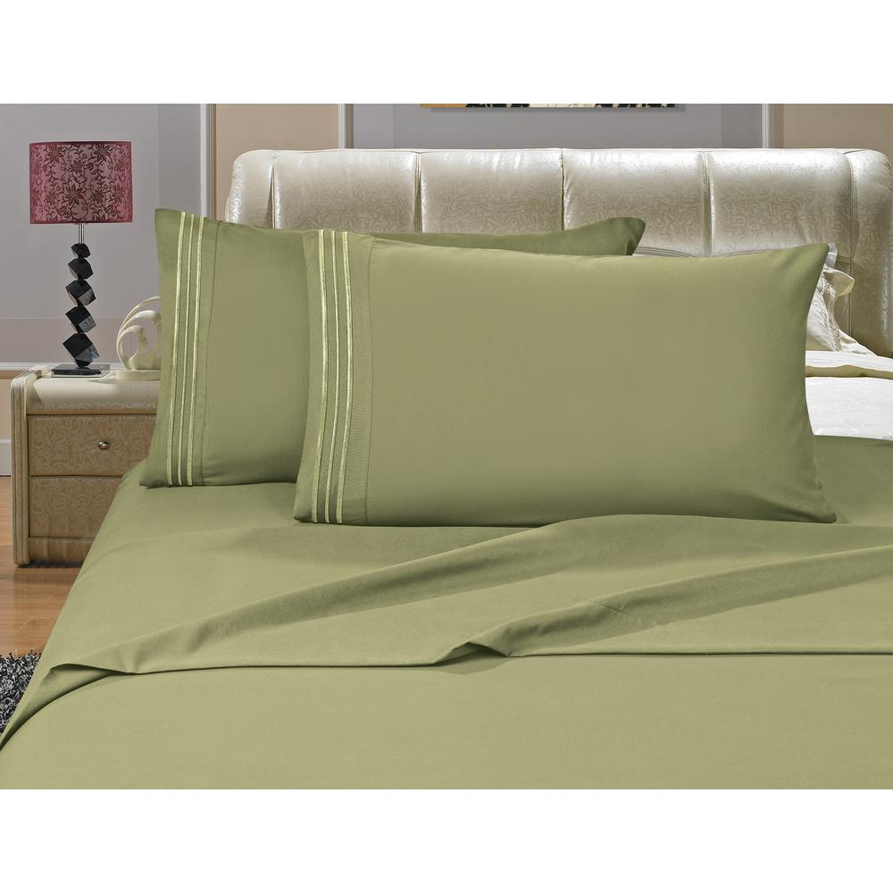 Elegant Comfort 1500 Series 4 Piece Sage Triple Marrow Embroidered Pillowcases Microfiber Full Size
