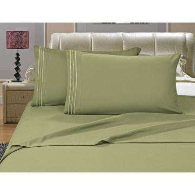 1500 Series 4-Piece Sage Triple Marrow Embroidered Pillowcases Microfiber Full Size-Green Bed Sheet Set
