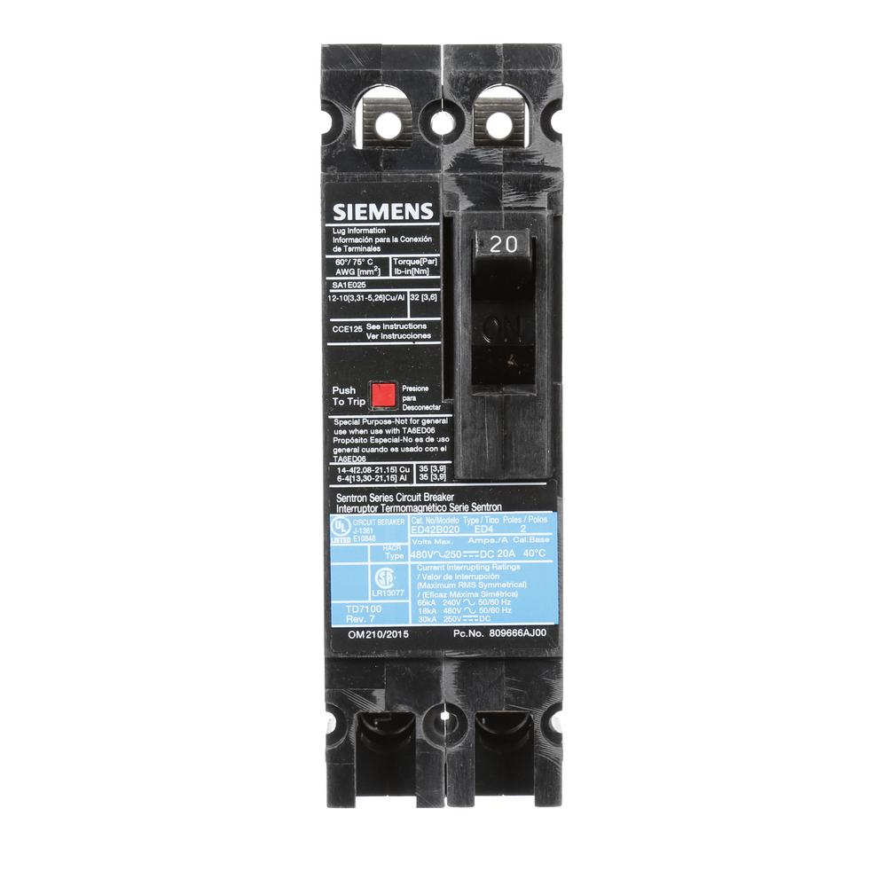 20 Amp 2-Pole Type ED 18 kA Circuit Breaker