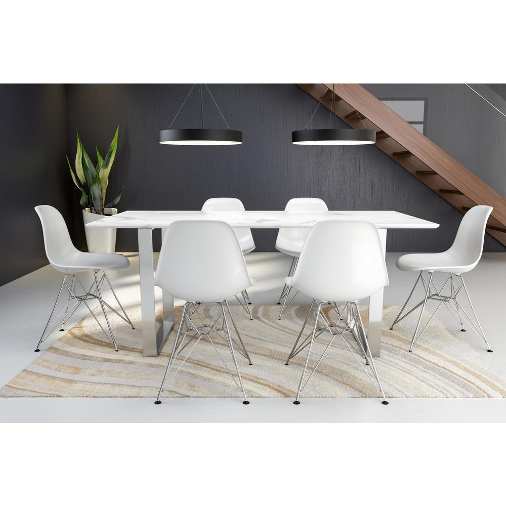 Stone Grey Brushed Stainless Steel Table Atlas