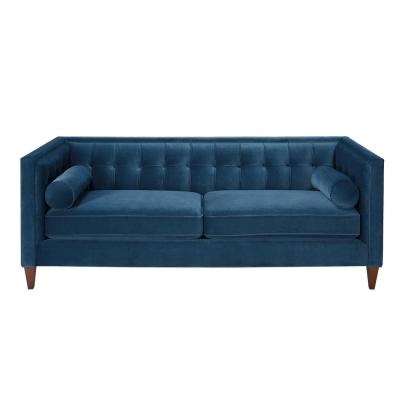 Jack 84 in. Satin Teal Velvet 3-Seater Tuxedo Sofa with Removable Cushions
