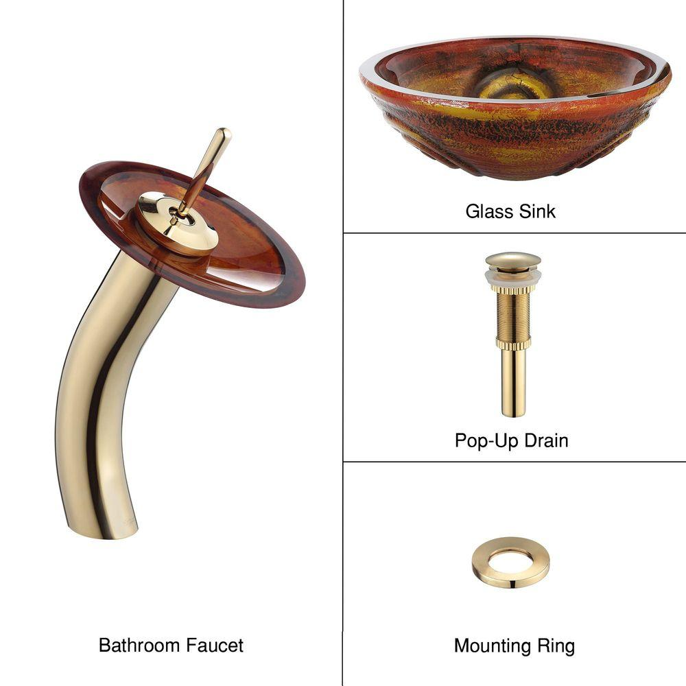 KRAUS Glass Bathroom Sink in Tiger Eye with Single Hole Single-Handle Low-Arc Waterfall Faucet in Gold-DISCONTINUED