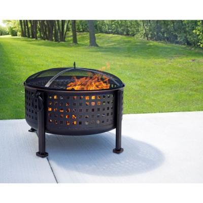 Langston 30 in. Round Deep Bowl Steel Fire Pit in Rubbed Bronze