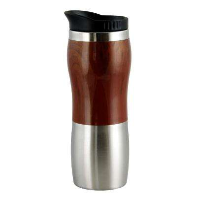 Monaco 15 oz. Stainless Steel Wood Like Double Wall Travel Mug