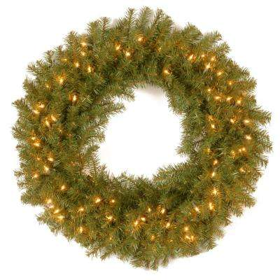 30 in. Norwood Fir Artificial Wreath with Clear Lights