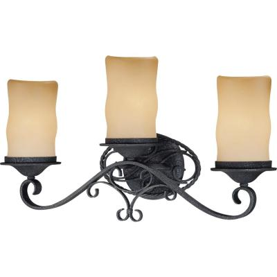 Sevilla 3-Light Indoor Antique Wrought Iron Bath / Vanity Wall Mount w/ Candle-Shaped Sandstone Glass Shades