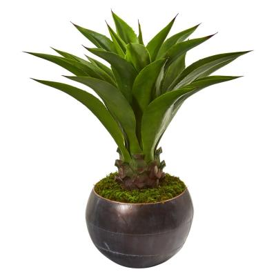 41 in. Agave Artificial Plant in Decorative Metal Bowl