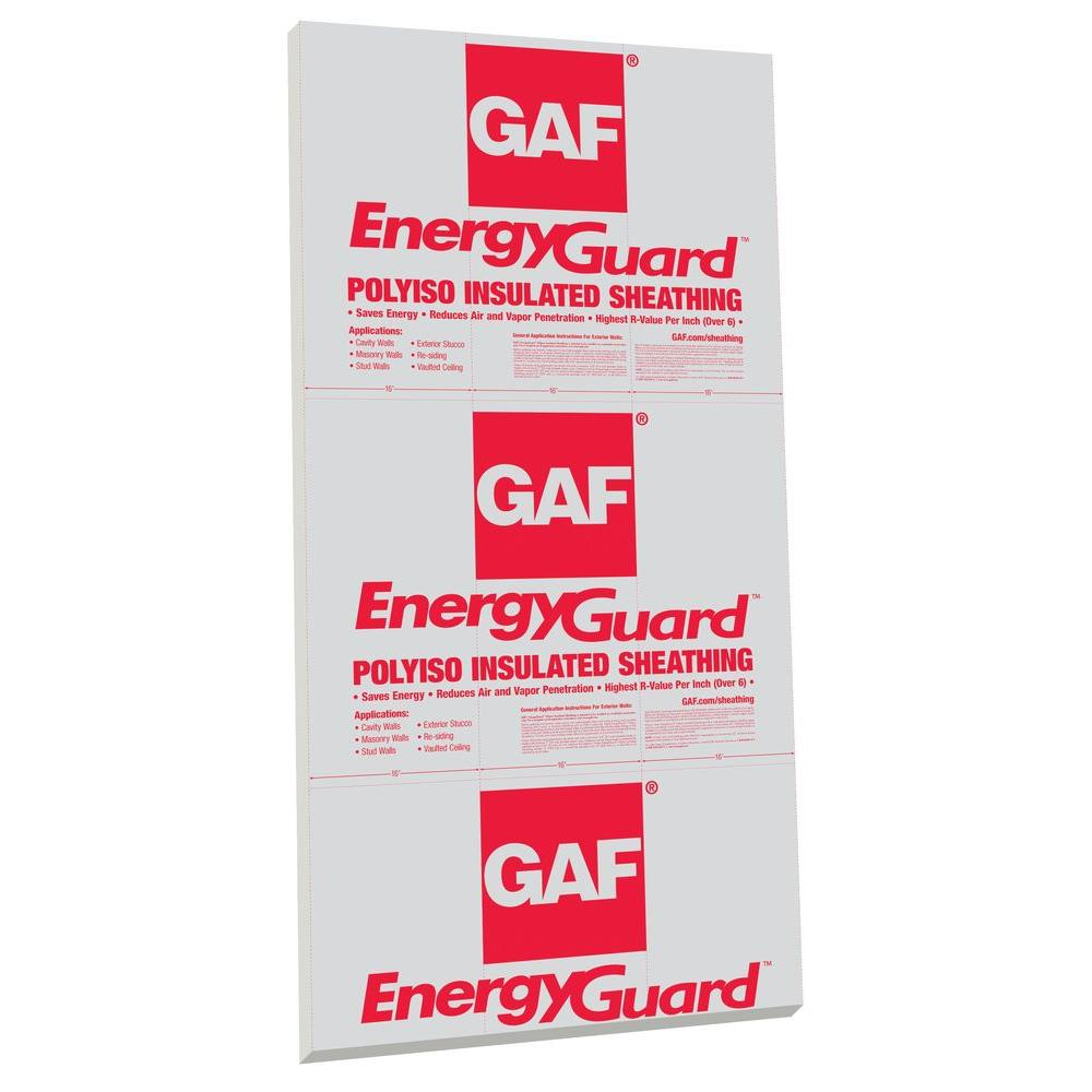 GAF EnergyGuard 1 in x 4 ft x 8 ft R61 Polyisocyanurate