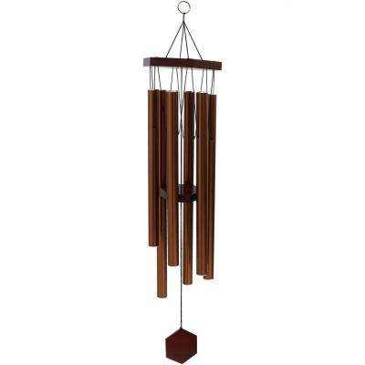 33 in. Copper Hand-Tuned Bamboo and Aluminum Hexagon Wind Chime